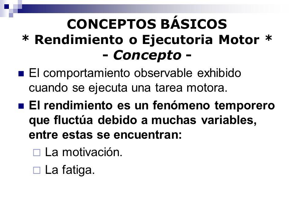 CONCEPTOS BÁSICOS * Rendimiento o Ejecutoria Motor * - Concepto - El comportamiento observable exhibido cuando se ejecuta una tarea motora. El rendimi