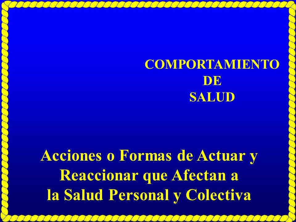 COMPORTAMIENTO DE SALUD Acciones o Formas de Actuar y Reaccionar que Afectan a la Salud Personal y Colectiva