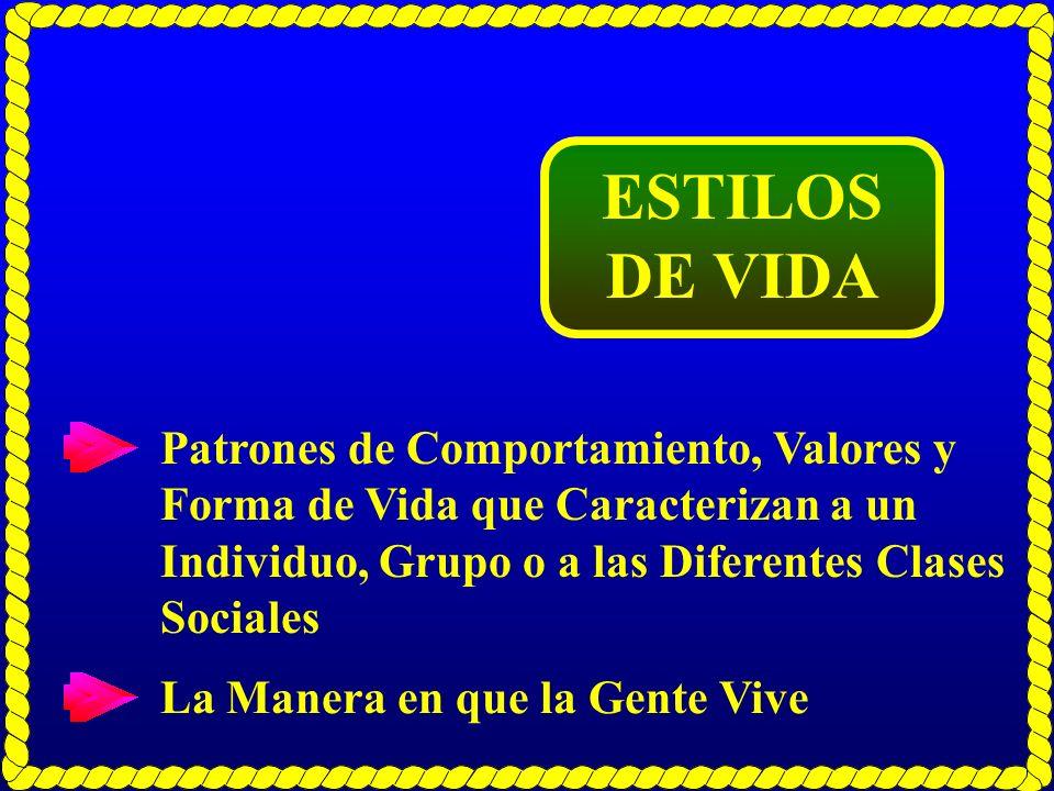 ESTILOS DE VIDA Patrones de Comportamiento, Valores y Forma de Vida que Caracterizan a un Individuo, Grupo o a las Diferentes Clases Sociales La Maner