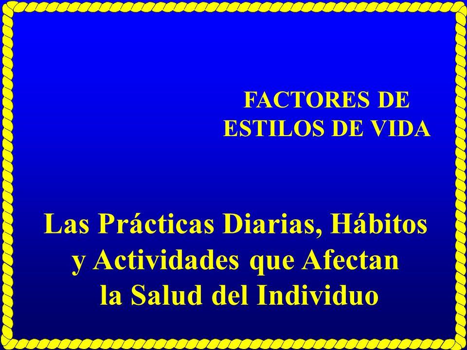 FACTORES DE ESTILOS DE VIDA Las Prácticas Diarias, Hábitos y Actividades que Afectan la Salud del Individuo