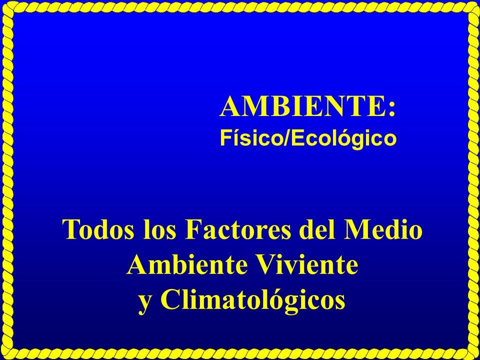 AMBIENTE: Físico/Ecológico Todos los Factores del Medio Ambiente Viviente y Climatológicos