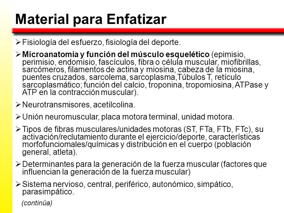Material para Enfatizar Fisiología del esfuerzo, fisiología del deporte.