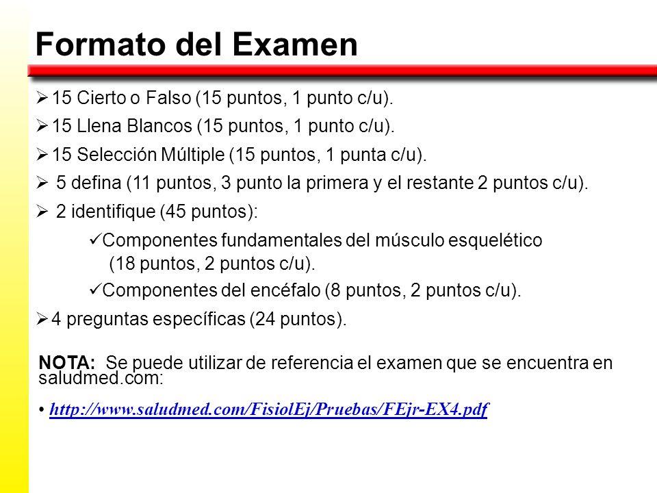 Formato del Examen 15 Cierto o Falso (15 puntos, 1 punto c/u).
