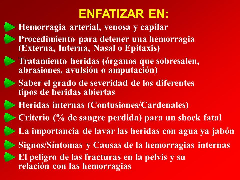 ENFATIZAR EN: Hemorragia arterial, venosa y capilar Procedimiento para detener una hemorragia (Externa, Interna, Nasal o Epitaxis) Tratamiento heridas