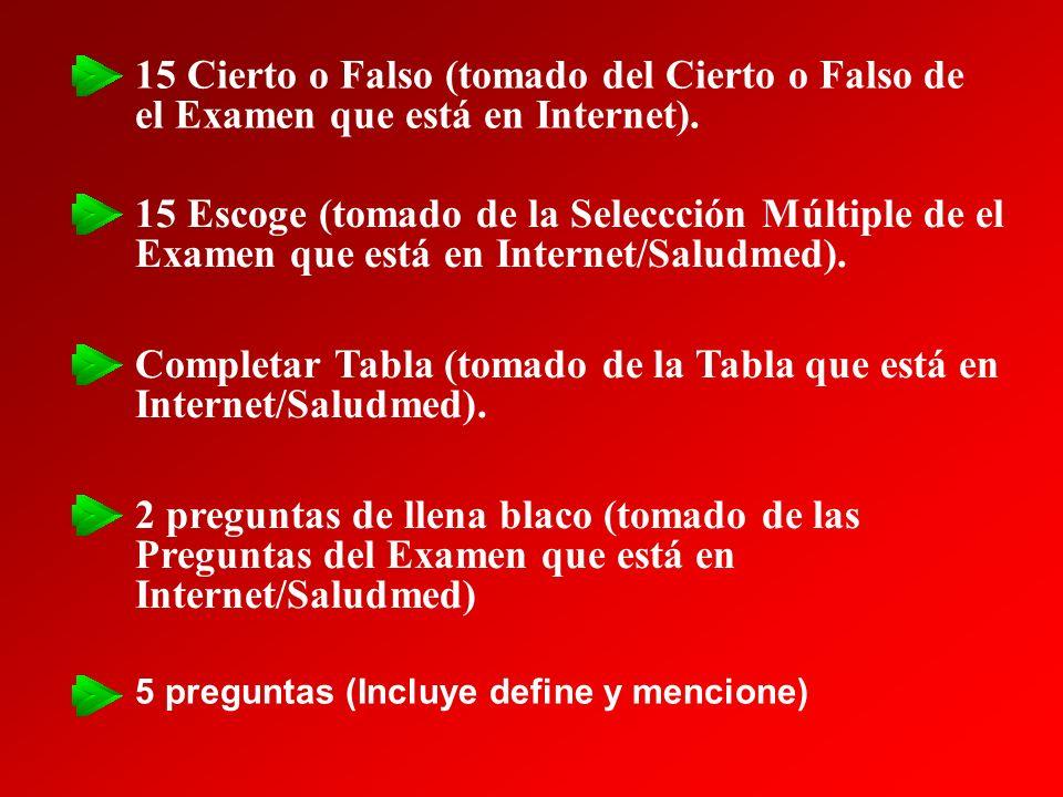 15 Cierto o Falso (tomado del Cierto o Falso de el Examen que está en Internet). 15 Escoge (tomado de la Seleccción Múltiple de el Examen que está en