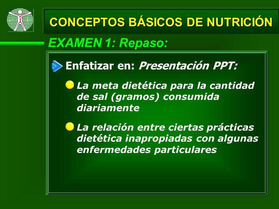 EXAMEN 1: Repaso: CONCEPTOS BÁSICOS DE NUTRICIÓN La relación entre ciertas prácticas dietética inapropiadas con algunas enfermedades particulares Enfa
