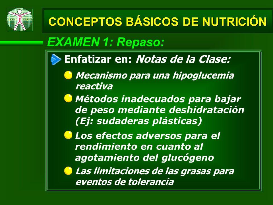 EXAMEN 1: Repaso: Las limitaciones de las grasas para eventos de tolerancia CONCEPTOS BÁSICOS DE NUTRICIÓN Enfatizar en: Notas de la Clase: Los efecto