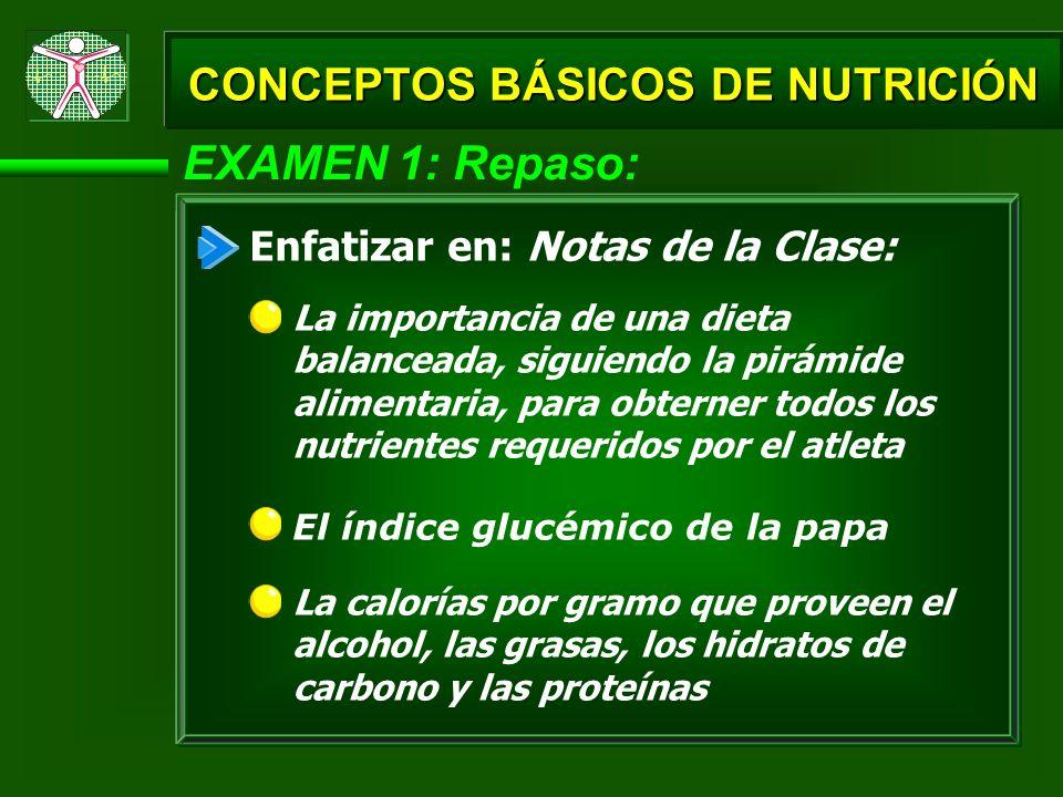 EXAMEN 1: Repaso: La calorías por gramo que proveen el alcohol, las grasas, los hidratos de carbono y las proteínas CONCEPTOS BÁSICOS DE NUTRICIÓN Enf