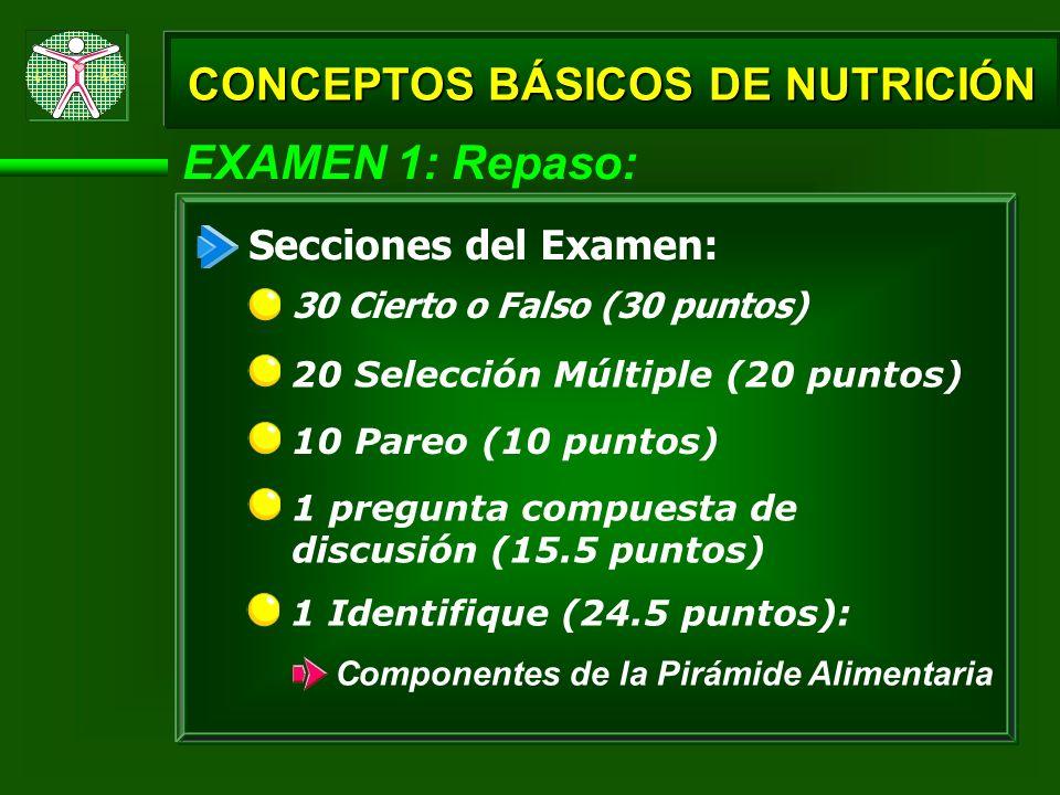EXAMEN 1: Repaso: 30 Cierto o Falso (30 puntos) Secciones del Examen: 20 Selección Múltiple (20 puntos) 10 Pareo (10 puntos) 1 pregunta compuesta de d
