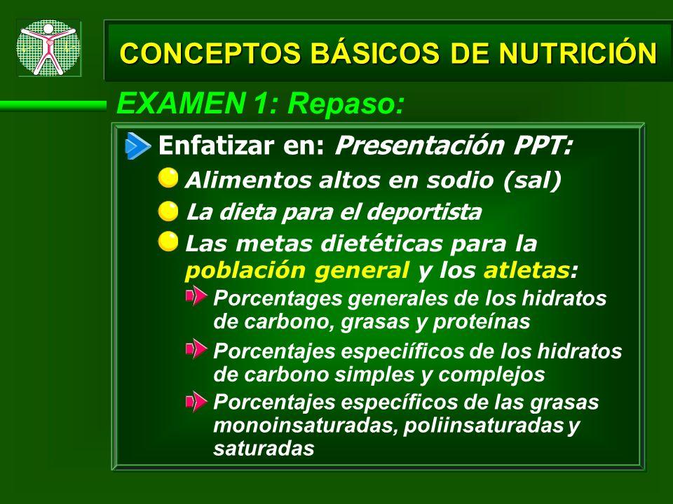 EXAMEN 1: Repaso: Cómo la intensidad (% del VO 2 máx) afecta el tipo de sustrato o combustible metabólico utilizado (hidratos de carbono y grasas) CONCEPTOS BÁSICOS DE NUTRICIÓN Regiones del cuerpo para los almacenes/reservas de las grasas, proteínas, glucógeno, glucosa y ácidos grasos libres Enfatizar en: Presentación PPT: Los productos de repostería altos en azúcares
