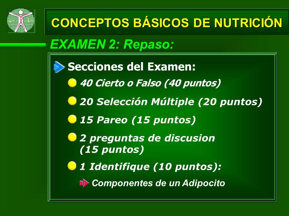 CONCEPTOS BÁSICOS DE NUTRICIÓN EXAMEN 2: Repaso: 40 Cierto o Falso (40 puntos) Secciones del Examen: 20 Selección Múltiple (20 puntos) 15 Pareo (15 pu