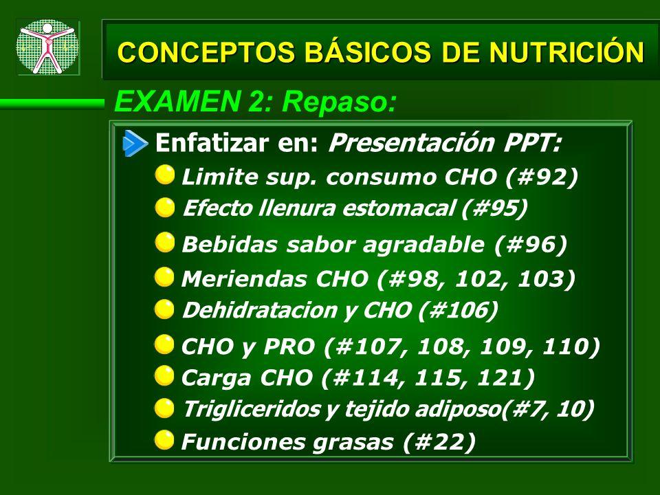 EXAMEN 2: Repaso: Efecto llenura estomacal (#95) Bebidas sabor agradable (#96) CONCEPTOS BÁSICOS DE NUTRICIÓN Limite sup. consumo CHO (#92) Enfatizar