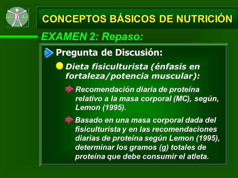 EXAMEN 2: Repaso: CONCEPTOS BÁSICOS DE NUTRICIÓN Pregunta de Discusión: Dieta fisiculturista (énfasis en fortaleza/potencia muscular): Recomendación d