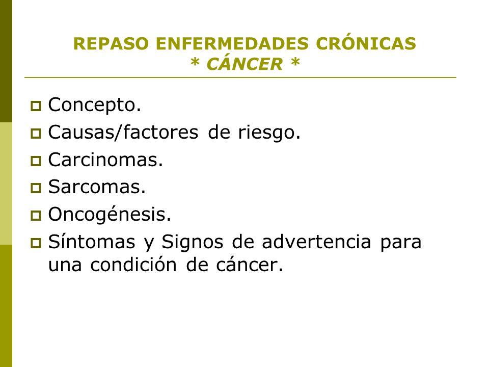REPASO ENFERMEDADES CRÓNICAS * CÁNCER * Concepto. Causas/factores de riesgo. Carcinomas. Sarcomas. Oncogénesis. Síntomas y Signos de advertencia para