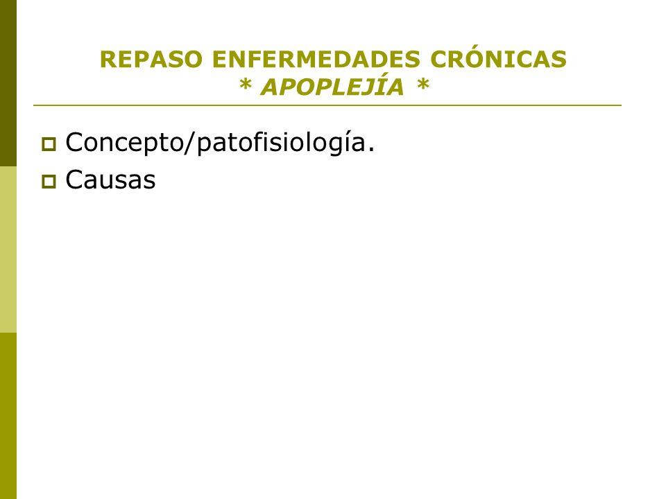 REPASO ENFERMEDADES CRÓNICAS * APOPLEJÍA * Concepto/patofisiología. Causas