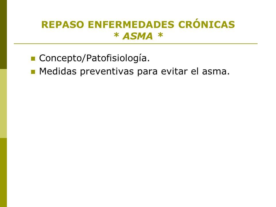 REPASO ENFERMEDADES CRÓNICAS * ASMA * Concepto/Patofisiología. Medidas preventivas para evitar el asma.