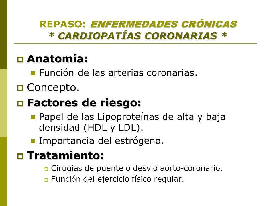 ENFERMEDADES CRÓNICAS * CARDIOPATÍAS CORONARIAS * REPASO: ENFERMEDADES CRÓNICAS * CARDIOPATÍAS CORONARIAS * Anatomía: Anatomía: Función de las arteria