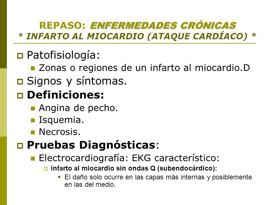 ENFERMEDADES CRÓNICAS REPASO: ENFERMEDADES CRÓNICAS * INFARTO AL MIOCARDIO (ATAQUE CARDÍACO) * Patofisiología: Zonas o regiones de un infarto al mioca