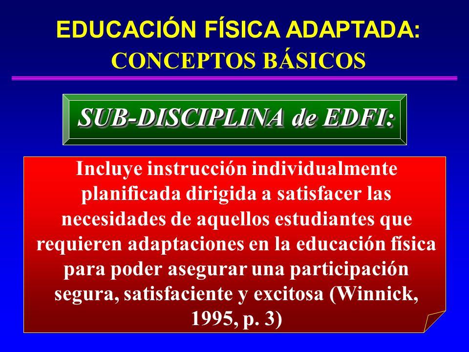EDUCACIÓN FÍSICA ADAPTADA: CONCEPTOS BÁSICOS SUB-DISCIPLINA de EDFI: Incluye instrucción individualmente planificada dirigida a satisfacer las necesid