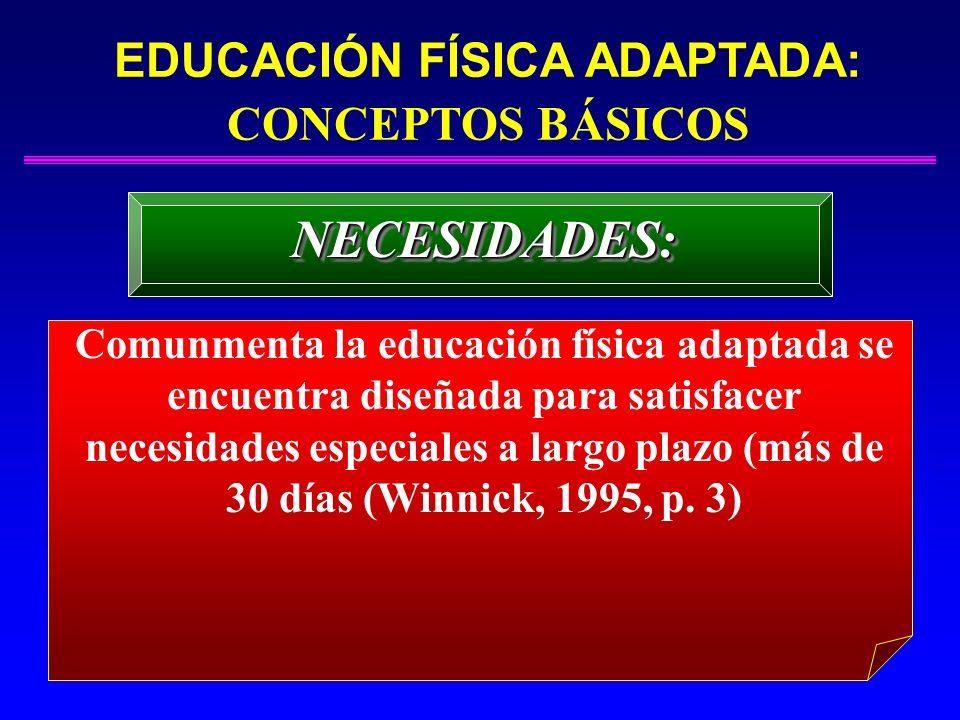 EDUCACIÓN FÍSICA ADAPTADA: CONCEPTOS BÁSICOS NECESIDADES:NECESIDADES: Comunmenta la educación física adaptada se encuentra diseñada para satisfacer ne