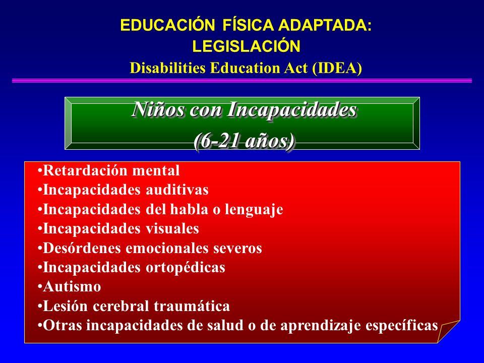 EDUCACIÓN FÍSICA ADAPTADA: LEGISLACIÓN Disabilities Education Act (IDEA) Niños con Incapacidades (3-5 años) Niños con Incapacidades (3-5 años) Retardación mental Incapacidades auditivas Incapacidades del habla o lenguaje Incapacidades visuales Desórdenes emocionales severos Incapacidades ortopédicas Autismo Lesión cerebral traumática Otras incapacidades de salud o de aprendizaje específicas
