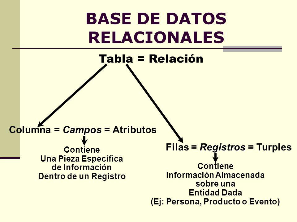 BASE DE DATOS RELACIONALES Tabla = Relación Campos Columna = Campos = Atributos Registros Filas = Registros = Turples Contiene Información Almacenada