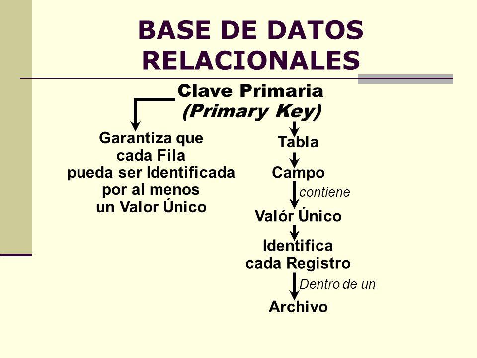 BASE DE DATOS RELACIONALES Clave Primaria (Primary Key) Valór Único contiene Campo Identifica cada Registro Dentro de un Archivo Tabla Garantiza que c