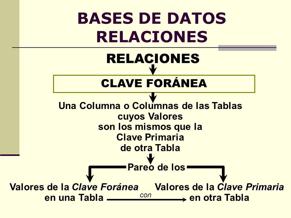 BASES DE DATOS RELACIONES CLAVE FORÁNEA Una Columna o Columnas de las Tablas cuyos Valores son los mismos que la Clave Primaria de otra Tabla Pareo de