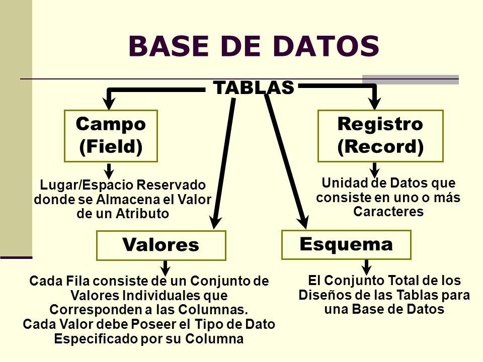 BASE DE DATOS TABLAS Campo (Field) Registro (Record) Esquema Lugar/Espacio Reservado donde se Almacena el Valor de un Atributo El Conjunto Total de lo
