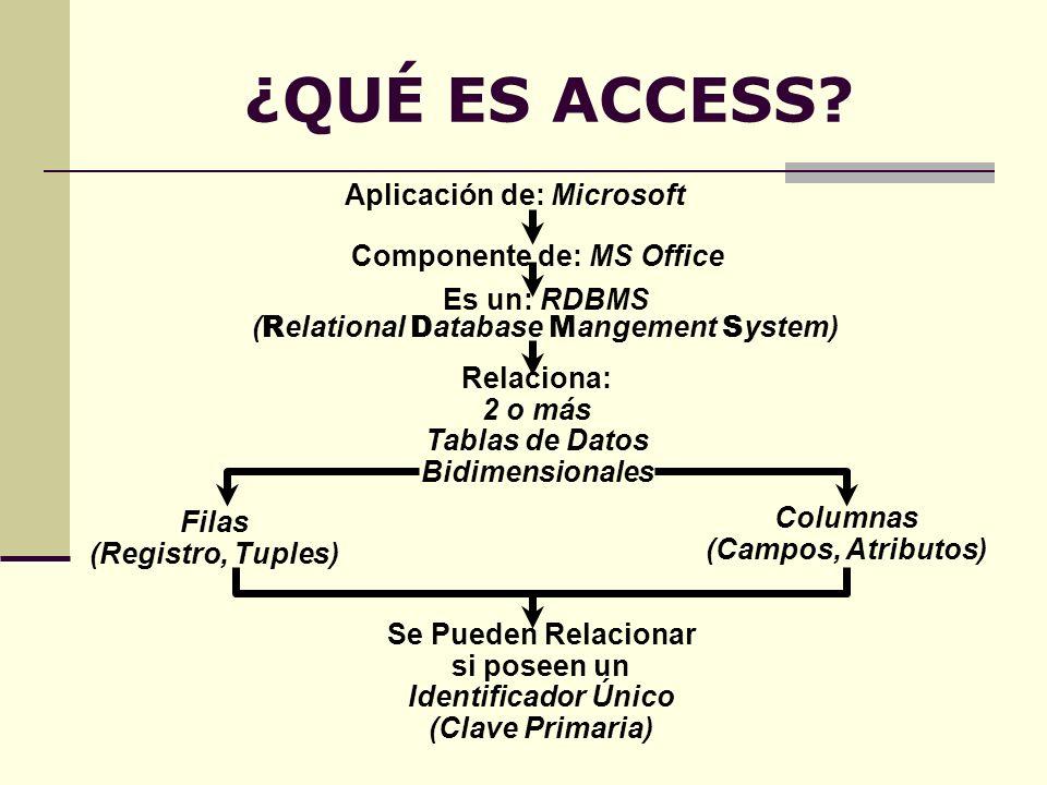¿QUÉ ES ACCESS? Aplicación de: Microsoft Componente de: MS Office Es un: RDBMS ( R elational D atabase M angement S ystem) Relaciona: 2 o más Tablas d
