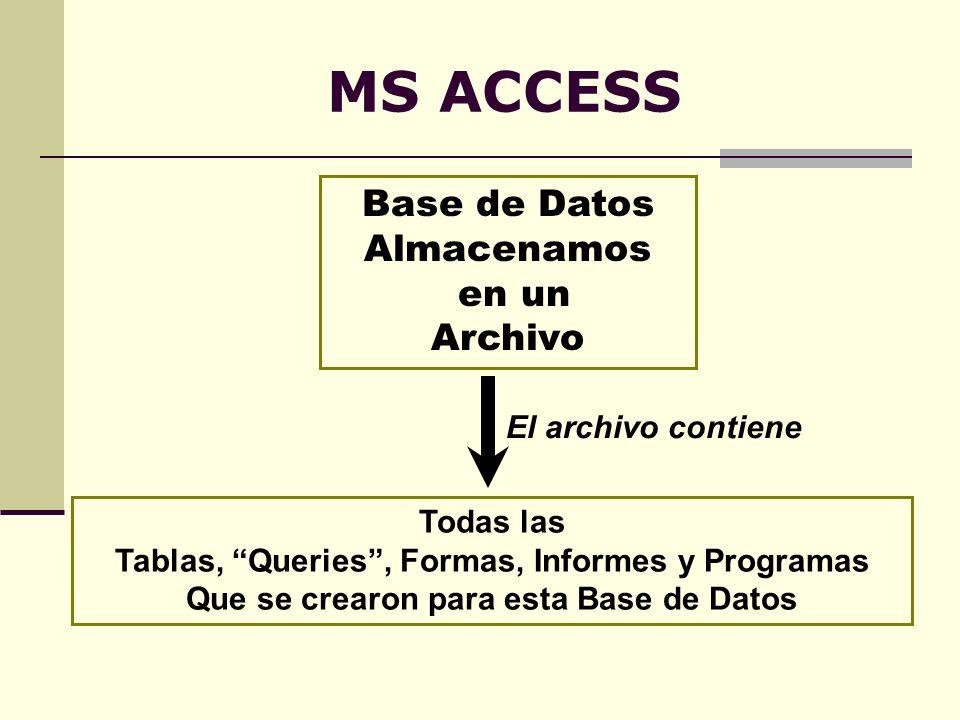 MS ACCESS Base de Datos Almacenamos en un Archivo El archivo contiene Todas las Tablas, Queries, Formas, Informes y Programas Que se crearon para esta