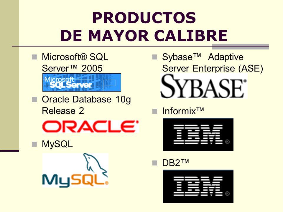PRODUCTOS DE MAYOR CALIBRE Sybase Adaptive Server Enterprise (ASE) Microsoft® SQL Server 2005 Informix MySQL Oracle Database 10g Release 2 DB2