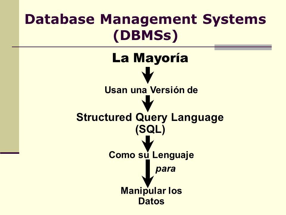 Database Management Systems (DBMSs) La Mayoría Usan una Versión de Structured Query Language (SQL) Como su Lenguaje para Manipular los Datos