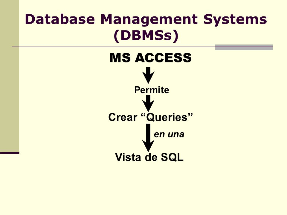 Database Management Systems (DBMSs) MS ACCESS Permite Crear Queries en una Vista de SQL