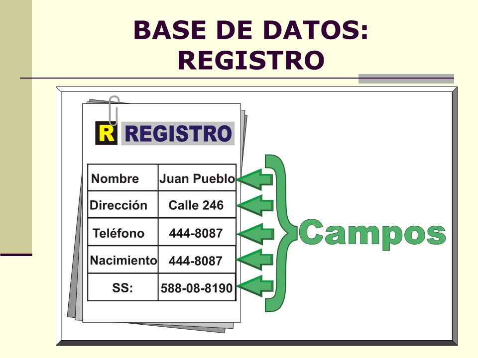 BASE DE DATOS: REGISTRO