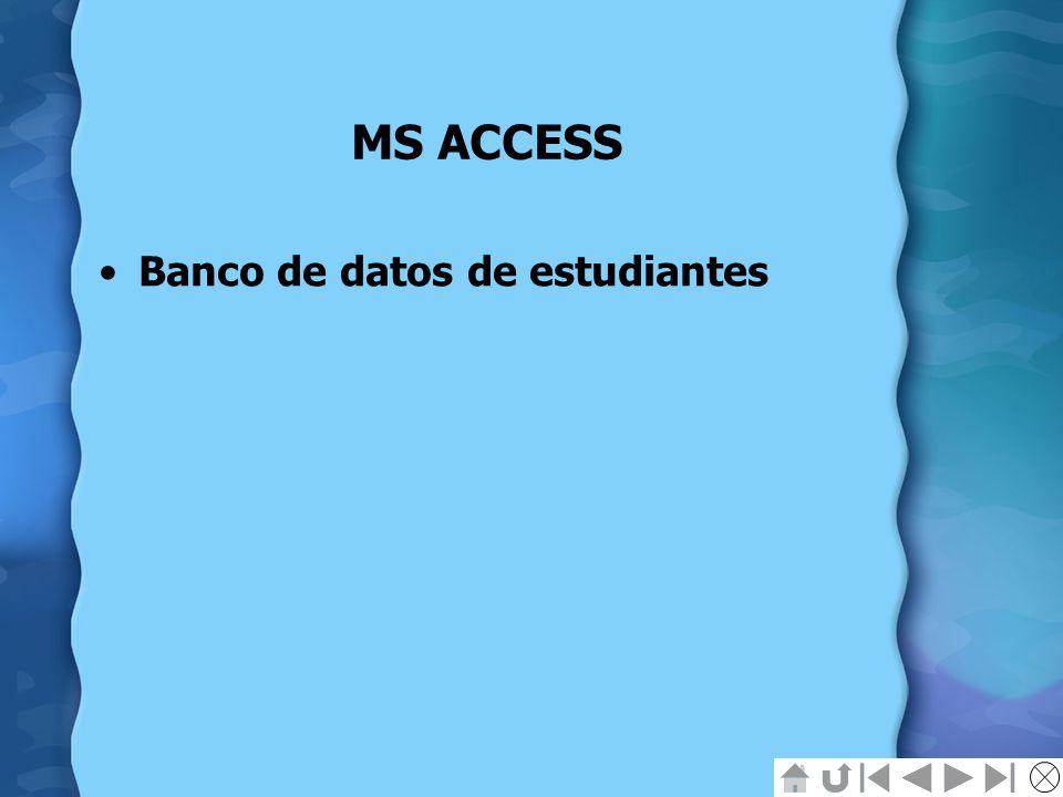 MS ACCESS Banco de datos de estudiantes