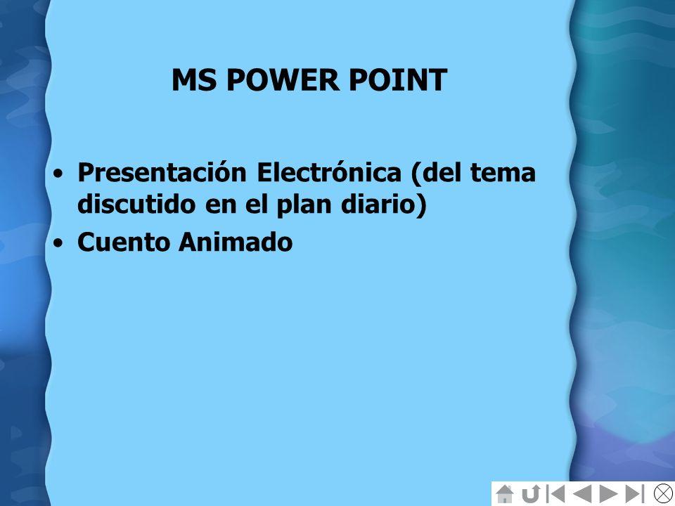 MS POWER POINT Presentación Electrónica (del tema discutido en el plan diario) Cuento Animado