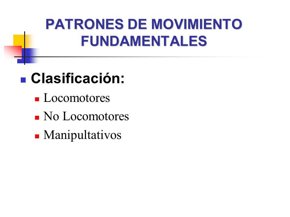 PATRONES DE MOVIMIENTO FUNDAMENTALES Clasificación: Locomotores No Locomotores Manipultativos
