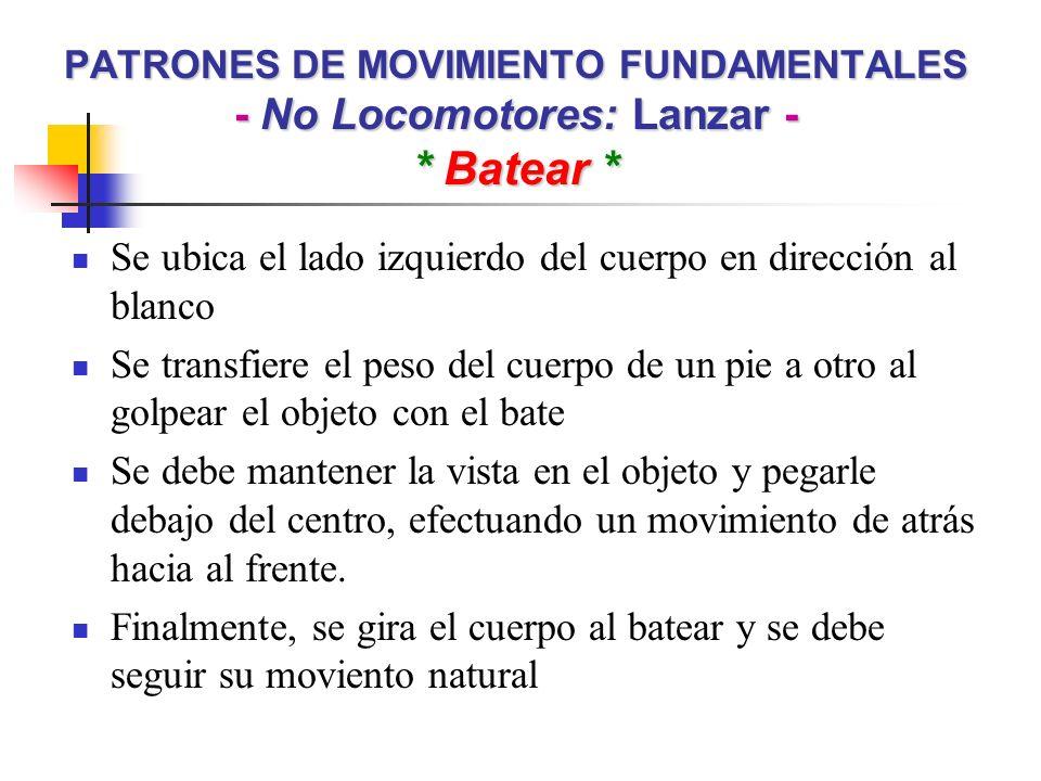 PATRONES DE MOVIMIENTO FUNDAMENTALES - No Locomotores: Lanzar - * Batear * Se ubica el lado izquierdo del cuerpo en dirección al blanco Se transfiere