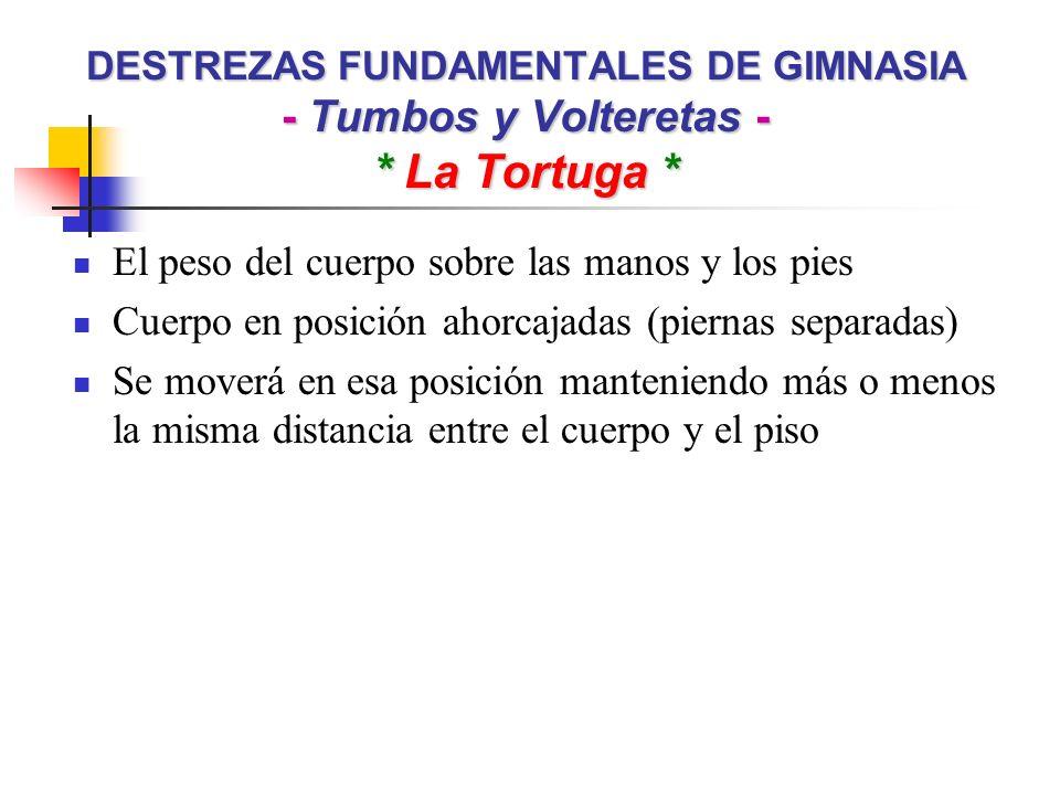 DESTREZAS FUNDAMENTALES DE GIMNASIA - Tumbos y Volteretas - * La Tortuga * El peso del cuerpo sobre las manos y los pies Cuerpo en posición ahorcajada