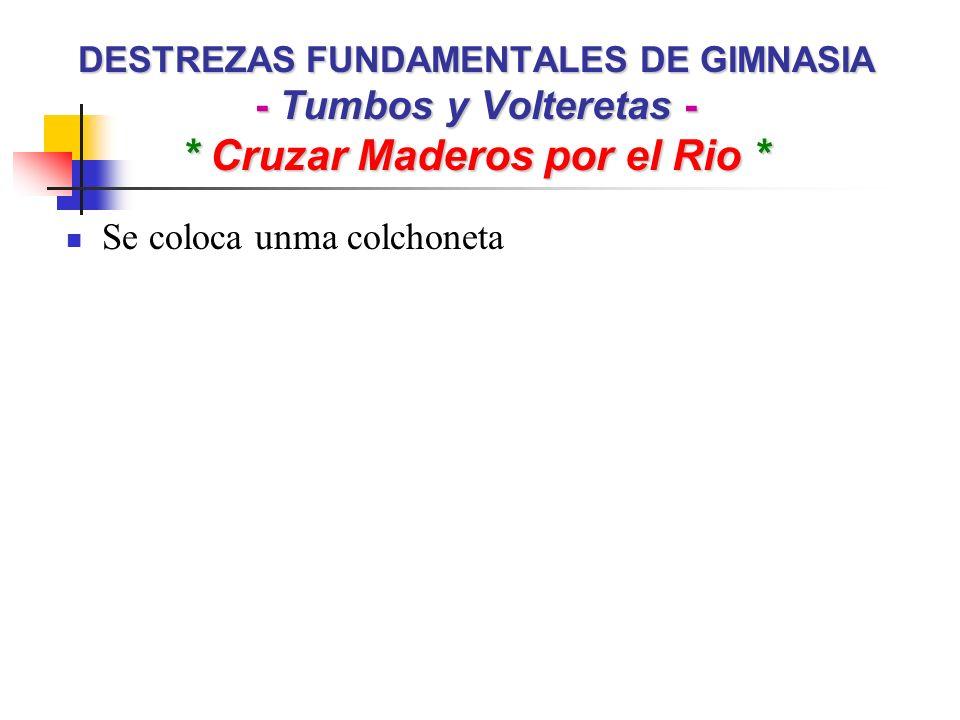 DESTREZAS FUNDAMENTALES DE GIMNASIA - Tumbos y Volteretas - * Cruzar Maderos por el Rio * Se coloca unma colchoneta