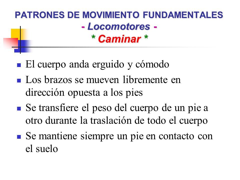 PATRONES DE MOVIMIENTO FUNDAMENTALES - Locomotores - * Caminar * El cuerpo anda erguido y cómodo Los brazos se mueven libremente en dirección opuesta