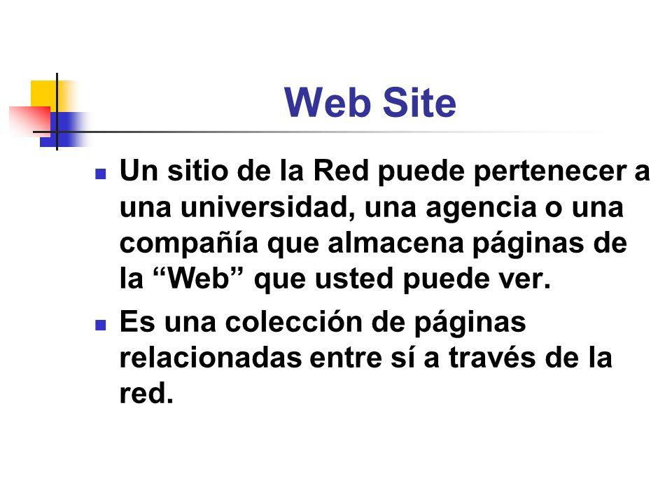 Web Site Un sitio de la Red puede pertenecer a una universidad, una agencia o una compañía que almacena páginas de la Web que usted puede ver. Es una