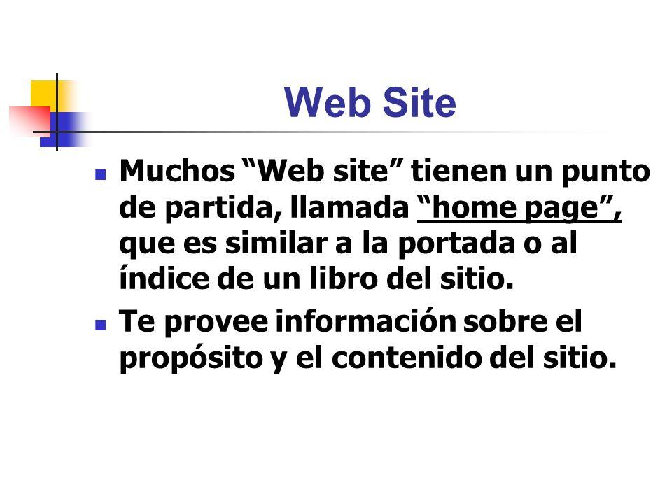 Web Site Muchos Web site tienen un punto de partida, llamada home page, que es similar a la portada o al índice de un libro del sitio. Te provee infor