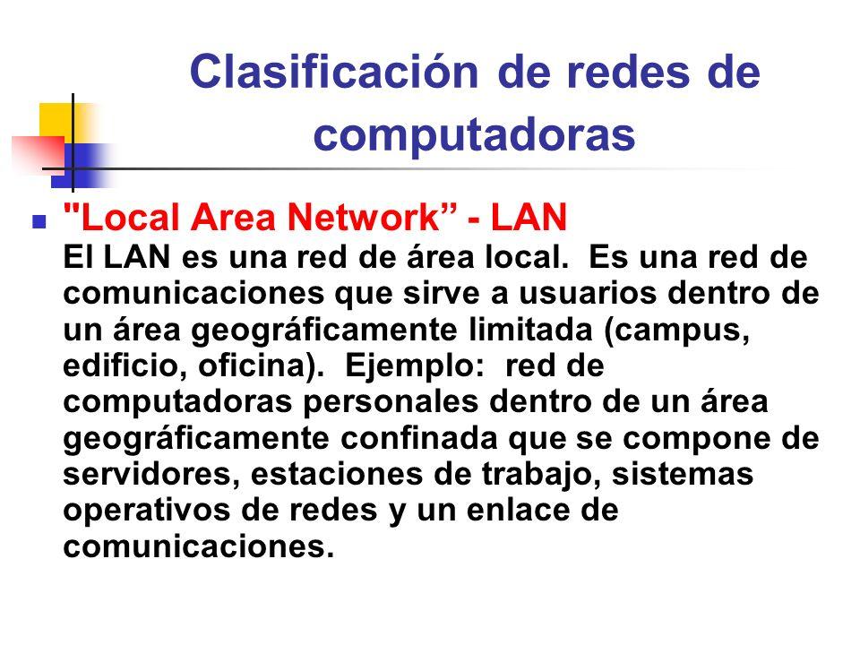 Clasificación de redes de computadoras Wide Area Network - WAN El WAN es una red de área ancha.