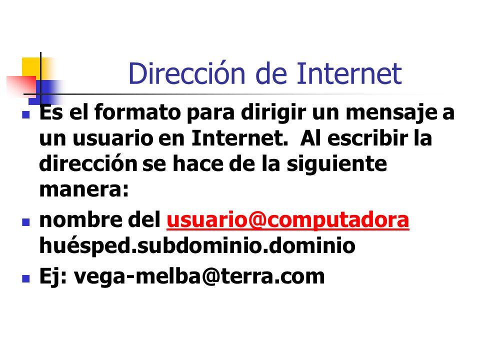 Dirección de Internet Es el formato para dirigir un mensaje a un usuario en Internet. Al escribir la dirección se hace de la siguiente manera: nombre