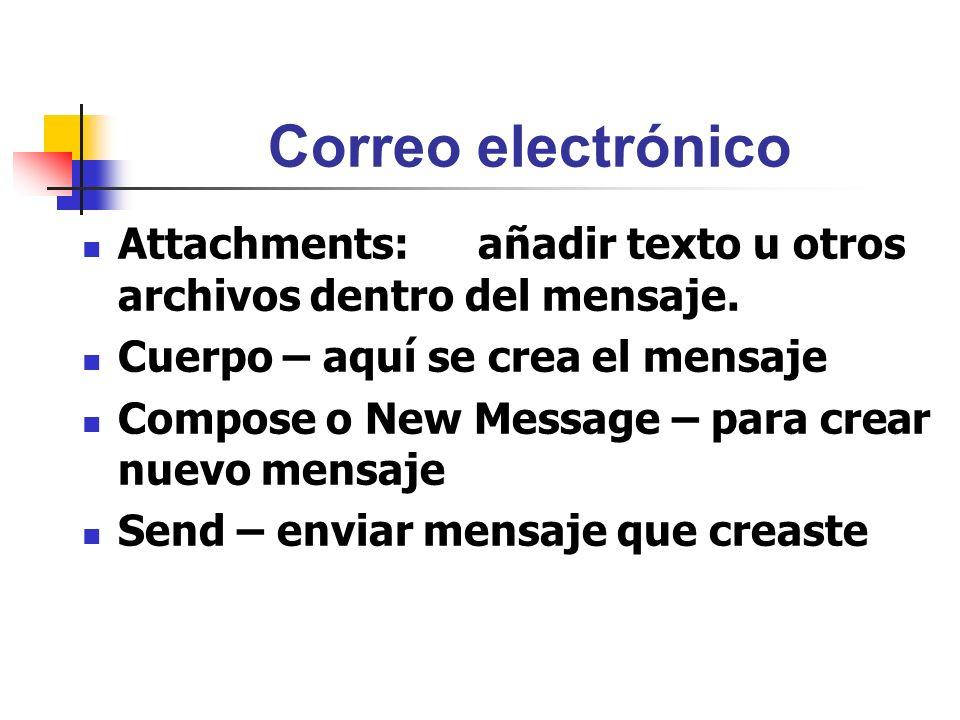 Correo electrónico Attachments: añadir texto u otros archivos dentro del mensaje. Cuerpo – aquí se crea el mensaje Compose o New Message – para crear