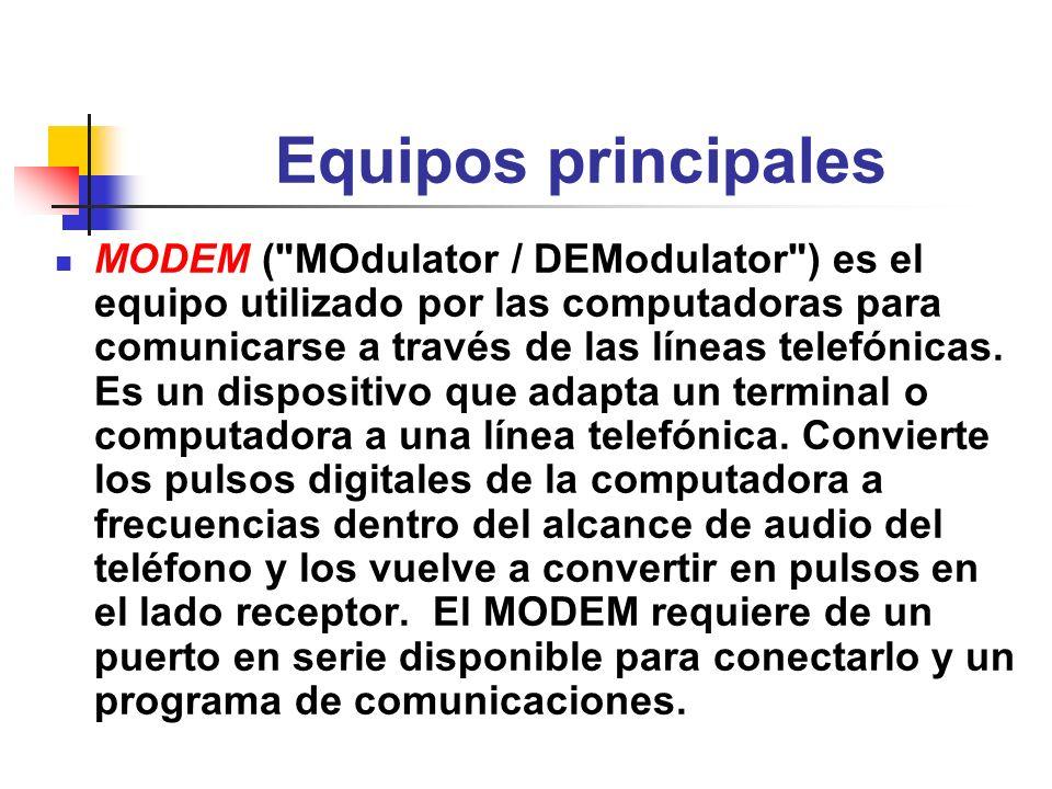 Equipos principales Network Interface Cards (NIC) Algunas computadoras conectadas en red usan el NIC para conectar las computadoras directamente a la red de la escuela o del negocio sin necesidad de un modem.