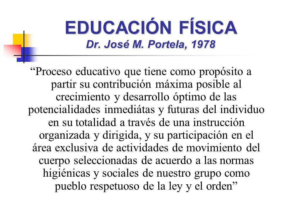 EDUCACIÓN FÍSICA Dr. José M. Portela, 1978 Proceso educativo que tiene como propósito a partir su contribución máxima posible al crecimiento y desarro