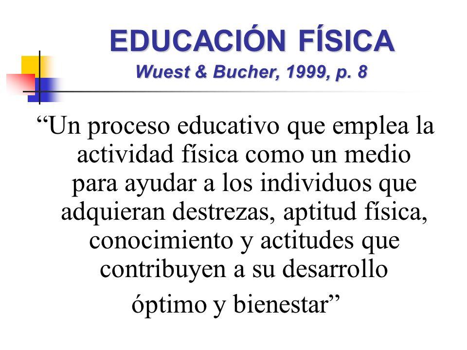 EDUCACIÓN FÍSICA Wuest & Bucher, 1999, p. 8 Un proceso educativo que emplea la actividad física como un medio para ayudar a los individuos que adquier